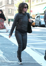 Jennifer Grey kept cozy with a black leather biker jacket while out and about in New York.