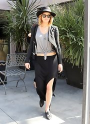 A long black skirt topped off JLaw's cool and effortless daytime look.