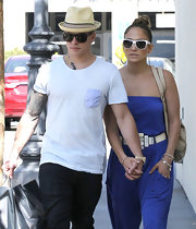 Casper Smart's straw fedora was a trendy topper.