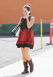 Jennifer Love Hewitt spent the day out and about in Studio City wearing a pair of distressed brown leather boots.