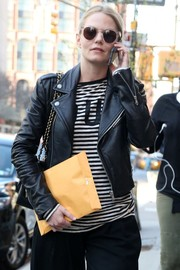 Jennifer Morrison looked cool in clear-rimmed sunnies and a leather jacket while out in New York City.