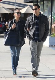 Jesse Metcalfe rocked denim on denim in this faded gray jacket while out to lunch.