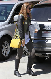 Jessica Alba punched up her outfit with a bright yellow Chambers Street Carlyle bag.