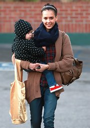 Jessica Alba is seen here wearing a comfortable yet stylish headband.