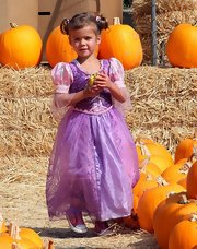 Honor Warren's pigtails were perfectly adorable for pumpkin picking.