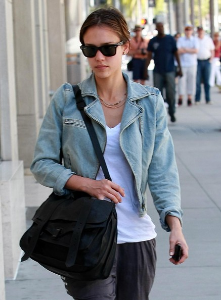 Jessica Alba Leather Messenger Bag