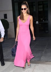 Jessica Alba looked totally darling in a low-cut Barbie-pink maxi dress by Narciso Rodriguez while headed out in New York City.