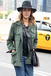 Jessica Alba stepped out in New York wearing a black brimmed hat.