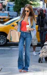 Jessica Alba was out and about in New York City looking laid-back in a chambray button-down and flared jeans.