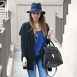 Jessica Alba's Fedora and Studded Ankle-Boots