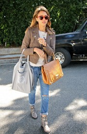 Jessica Alba added an extra dose of edge with a pair of buckled silver boots.