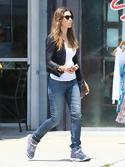 Jessica sported a stylish black leather jacket with jeans and a white tee while out in LA.