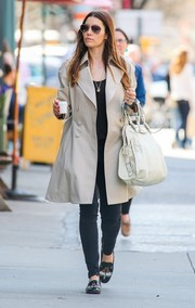 Jessica Biel stepped out for an espresso wearing a stylish nude trenchcoat.