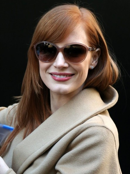 Jessica Chastain Oversized Sunglasses []