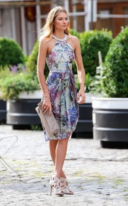 Jessica Hart looked vibrant and sophisticated in a tropical-print halter dress during a photo shoot in New York City.