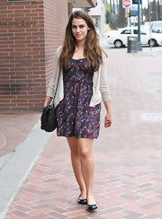 Jessica Lowndes paired her print cocktail dress with cap-toe ballet flats.