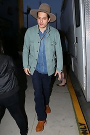 John Mayer chose a pair of classic jeans for his denim on denim look while out in LA.