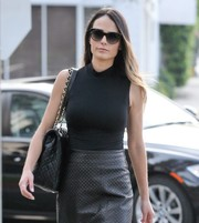 Jordana Brewster headed out in Beverly Hills wearing a pair of classic cateye sunglasses.
