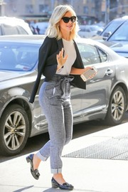 Julianne Hough was spotted outside her NYC hotel looking smart in a cropped black blazer by Paule Ka.