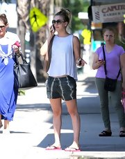Kaley sported a pair of funky gray tie dye short while out in California.