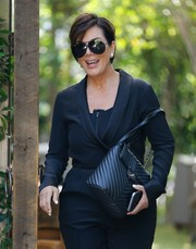 Kris Jenner hid her eyes behind a pair of oversized aviators while filming her reality show.