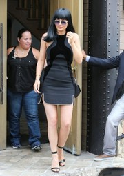 Kylie Jenner flaunted plenty of skin in a studded, velvet-panel LBD by Alexander Wang while celebrating her dad's birthday.