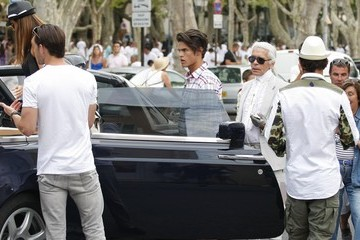 Karl Lagerfeld Baptiste Giabiconi Karl Lagerfeld Out And About In St. Tropez