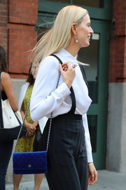 Karolina Kurkova stepped out in New York City carrying a royal-blue velvet chain-strap bag by Chanel.