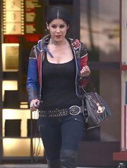 Kat Von D added even more hardware to her look with this studded belt.