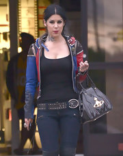 Kat Von D finished off her edgy errand-running look with a patent-leather bowler bag.