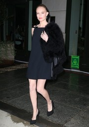 Kate Bosworth was retro-glam in a black A-line mini dress by Miu Miu while out in New York City.
