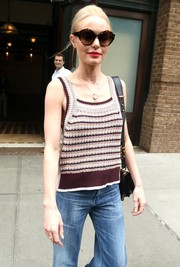 Kate Bosworth looked perfectly ready for a sunny NYC day with her oversized round shades.