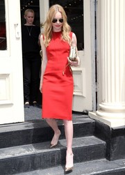 Kate Bosworth stepped out in New York City wearing a simple yet sophisticated sleeveless red sheath by Lanvin.