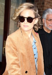 Kate Hudson stepped out in New York City wearing a pair of round tortoiseshell shades by Sunday Somewhere.