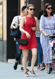 Kate Mara was breezy and cute in a sleeveless red mini dress while out and about in New York City.