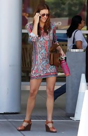 Kate Walsh rocked this printed mini dress while out running errands in LA.