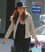 Kate Walsh chose a nude leather jacket for her cool daytime look while out in Hollywood.