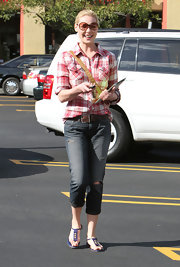 Katherine Heigl added a pop of color with purple sandals.