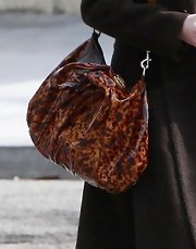 "Ms. Heigl totes the brown patent leather ""Hysteria"" shoulder bag on a casual outting."
