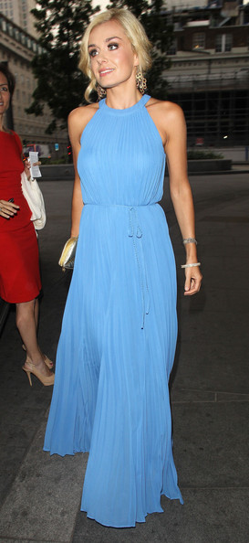 Katherine Jenkins looked lovely in this periwinkle blue pleated gown.