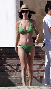 Katy Perry was spotted in Mexico wearing a lime green triangle top bikini.