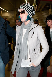 Katy Perry wore this dove gray leather jacket for her arrival in Berlin.