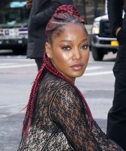 Keke Palmer looked funky with her long cornrows while posing at AOL Build.
