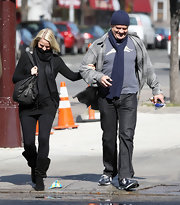 Kayte Walsh wore these black suede boots while out and about with partner Kelsey Grammer.