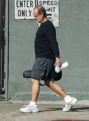 Kelsey Grammer paired gray cargo shorts with a black crewneck sweater for a stroll in Hollywood.