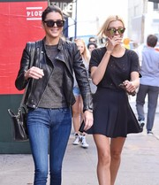 Hailey Baldwin looked cool wearing these mirrored cateye sunnies while out in New York City.
