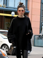 Kendall Jenner looked hip in pink aviator sunglasses while out for lunch in West Hollywood.