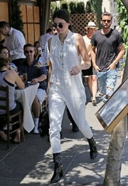 Kendall Jenner was utilitarian-chic in this white jumpsuit by One Teaspoon while out and about in Beverly Hills.