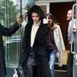 Kendall Jenner's Quilted Leather Skirt and Long Coat