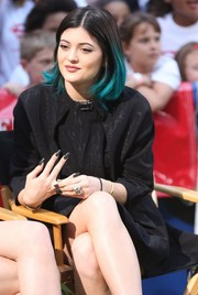 Kylie Jenner was goth-glam on 'Good Morning America' with her long black nails.